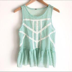🎉SALE Free People Top   Green & White Lace Peplum
